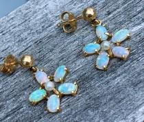 wedding photo - Blue Opal Earrings 14K Gold Natural Fiery Australian Opal Earrings in 14k Yellow Gold Filigree Rainbow Fire Opal Jewelry Wife Pierced Ears