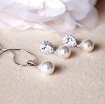 wedding photo - Pearl Bridal Jewelry Set, Wedding Jewelry Set For Brides, Classic Swarovski Pearl Jewelry Set, Bridesmaid Gift Set, Bridal Set S107