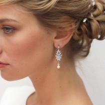 wedding photo - Gold Cubic Zirconia Bridal earrings, Gold Bridal earrings CZ Teardrop Bridal earrings Rose Gold Bridal Jewelry, Bride, Bijoux Mariage doré