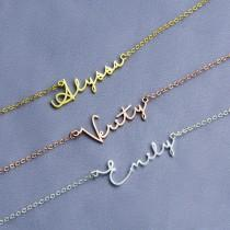 wedding photo - Silver Name necklace, Initial Name Necklace, Custom Name Necklace, Personalized Name Necklace, Signature Necklace, Bridesmaid Gift, Mom Gift