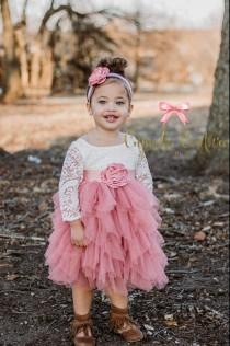wedding photo - Flower girl dress, photography prop, mauve pink dress, lace flower girl dress, lace flower girl dress, bohemian flower girl dress