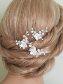 wedding photo - Pearl Bridal Hair Pins, White Pearl Hair Pins, Set of 3 Pearl Floral Hair Pins, Wedding Head Pieces, Bridal Hair Pieces, Pearl Hair Jewelry,