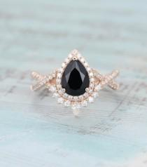 wedding photo - Pear shaped Black onyx engagement ring rose gold Halo Unique Vintage engagement ring for women Twisted diamond wedding Bridal Promise gift