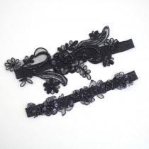 wedding photo - Black Beaded Lace Garter Set, Bridal Black Garter, Wedding Black Garter, Prom Garter Belt, Black  Wedding Garter, Black Toss Garter
