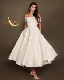 wedding photo - Tea Length Wedding Dress, Short Wedding Dress