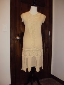 wedding photo - 1920s Antique Ivory Sheer/Lace Flapper/Gatsby/Wedding/ Tea/Lawn Dress/ 2 Piece Ivory Sheer Short Dress Size S / Vtg Ivory Lace Dress