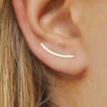 wedding photo - Ear Climbers 20mm - Sleek Ear Pins, 14k Gold Filled, Smooth Sweep, Modern Minimalist Earrings, Up The Ear Crawler