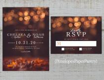 wedding photo - Romantic Fall Wedding Invitation,Fall Leaves,Glowing Lights,Bubble Lights,Shimmery,Personalize,Printed Invitation,Wedding Set,Envelope
