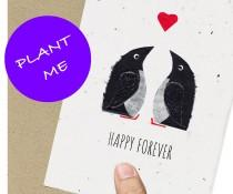 wedding photo - Eco Friendly Card / Penguin / Engagement / Wedding / Anniversary  / Husband  / girlfriend /boyfriend / fiance