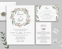 wedding photo - Winter Wedding Invitation Template, Christmas Wedding Invitation Set, Rsvp Card, Details Card, Printable, Templett, Rustic Wedding, Diy