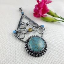 wedding photo - Turquoise pendant, wire wrap jewelry, statement bold jewelry, gemstone fine pendant, sterling silver metalwork jewelry