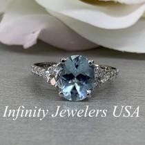 wedding photo - Art Deco Aquamarine Ring, Aquamarine Engagement Ring, March Birthstone Ring, Aquamarine Ring For Women, 14K Gold, Light Blue Ring, #6688