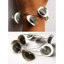 wedding photo - Bracelet, Silver plated plate, Silver and black, Armband, Silver claps. modern, young fashion, NEW,
