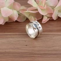 wedding photo - Boho Silver Ring, Moonstone Semi Precious Stone Ring, 925-Sterling Silver Ring,Boho Spinner Ring,Thumb Ring,Gift Item Spinner Ring