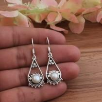 wedding photo - Beautiful Pearl Top Quality Gemstone Earring 925-Sterling Silver Earring,Birthday Gift Earring,Gift Item Earring,Boho Earring,Gift For Her