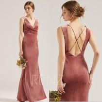 wedding photo - Velvet Bridesmaid Dress Dusty Rose V Neck Mermaid Formal Dress Criss Cross Straps Fitted Prom Dress with Long Slit (RV009)