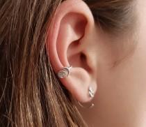 wedding photo - Moon Phases Conch Hoop, Celestial Conch Piercing 14 guage, Conch Hoop Earring, Helix Earring,  Cartilage Hoop , Gift Idea Present for Her
