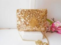 wedding photo - Vintage Gold Evening Bag, Beads and Sequins, Beaded Clutch Bag  EB-0249