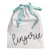wedding photo - Lingerie Travel Bag with Satin Drawstring Bridesmaids, Wedding, Personalized Available