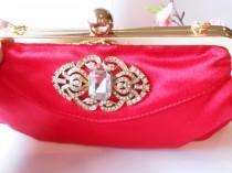 wedding photo - Red Evening Bag,  Rhinestone Trim, Red Beaded Clutch Bag, Holiday Purse, EB-0115