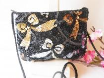 wedding photo - Black Beaded Evening Bag, Gold Silver Accent, Vintage Beaded Clutch Bag EB-0103