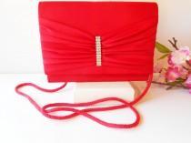wedding photo - Vintage Red Evening Bag, Red Clutch Handbag, Rhinestone Trim,  EB-0327