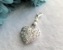 wedding photo - Heart Locket Wedding Bouquet Charm, Bridal Charm, Memorial Charm, Pendant, Heart Wedding Charm, Shower Gift, Something Blue