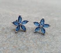 wedding photo - Blue Flower earrings. Large 10mm 925 silver plated stud earrings. Large flower earrings. Swarovski crystal stone earrings.