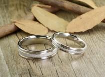 wedding photo - Handmade Wedding Bands, Couple Rings Set, Titanium Rings Set, Anniversary Rings Set