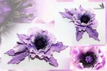 wedding photo - Wedding Purple Hair Clip, Bright Flower Clip, Wedding Hair Accessory, Bachelorette Party, Bridal Floral Fascinator, Purple Floral Barrette