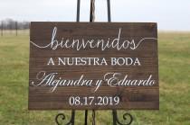 wedding photo - Spanish wedding welcome sign,personalized Spanish wedding bienvenidos sign,wedding sign,Spanish sign,personalized Spanish wedding sign