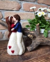wedding photo - lovers portrait, valentine decor, anniversary gift , wedding cake topper , Waldorf inspired doll , wedding sculpture , custom portrait