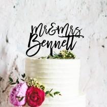 wedding photo - Custom Wedding Cake Topper, Custom Calligraphy Personalised Mr & Mrs Cake Topper for Wedding, Personalised Wedding Cake Topper Australia