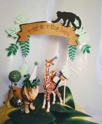wedding photo - Safari/jungle cake topper banner, cake topper animal, kids birthday, personalized.