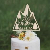 wedding photo - Custom mountain cake topper, Wedding cake topper, Unique wedding cake topper, Travel wedding cake toppers, Mr and Mrs cake topper