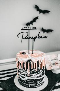 wedding photo - hey there pumpkin cake topper // halloween cake topper // black acrylic cake topper