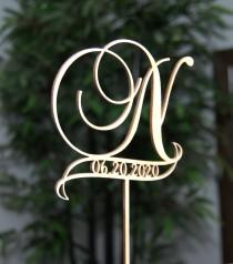 wedding photo - Elegant Rustic Cake Topper - Personalized Monogram/Initial/Name Letter Topper with Date - Wedding-Anniversary-Bridal Shower-Birthday Topper.