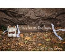 wedding photo - Wood Wedding Aisle Sign