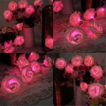 wedding photo - Pink Rose Flower Fairy String Lights 20 LEDs  (2.2M/7.22feet) Wedding Garden Party Christmas Decoration (Pink) US Seller