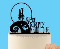 wedding photo - Simply meant to be wedding cake topper, Jack and Sally, Nightmare before Christmas, Jack Skellington Cake Topper, Halloween Wedding Topper