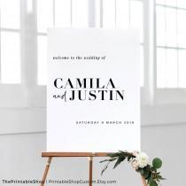 wedding photo - Printable Wedding Sign Personalized, Modern Wedding Sign, Minimalist Wedding Sign Welcome, Simple Wedding Signs, WEEKEND IN PARIS