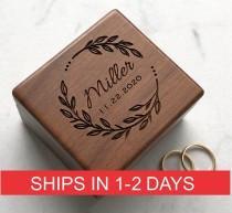 wedding photo - Custom Wedding Ring Box, Wood Ring Box, Engagement Ring Box, Ring Bearer Ring Box, Ring Box Holder, Proposal Ring Box, Wedding Ring Box