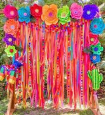 wedding photo - Colorful Backdrop, Wedding Backdrop, Ceremony Backdrop, Photo Booth, Streamer Backdrop, Fringe Backdrop, Party Decorations, Boho Wedding