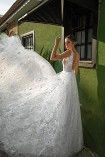 wedding photo - White Lace Wedding Dress, Floral Lace Wedding Gown, Open Back Wedding Dress, Deep V Neck Gown, Unique Bridal Gowns, Custom Made Wedding Gown