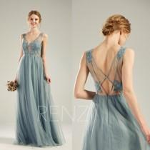 wedding photo - Bridesmaid Dress Dusty Blue Tulle Party Dress Long Lace Wedding Dress Illusion V Neck Prom Dress Sexy Back A-line Formal Dress(LS508)