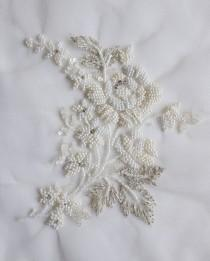 wedding photo - Hand-made motif with pearl flowers and ivory-silver threadwork