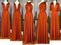 wedding photo - BURNT ORANGE Bridesmaid Dress/ CUSTOM LeNGTHS/ Convertible Dress / Infinity Dress/ Multiway Dress/  Multi Wrap Dress / Plus Size / Petite