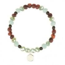 wedding photo - Glass bracelet with Baltic amber Beads