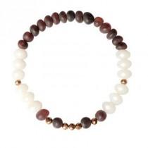 wedding photo - White Brown Baltic amber Bracelet raw beads