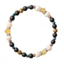 wedding photo - Baltic amber Hematite Glass Black stone Beads Bracelet